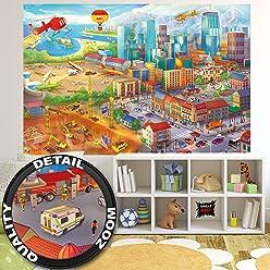 Fototapete Kinderzimmer comic style - Wandbild Dekoration Wimmelbild Großstadt Baustelle Hubschrauber Flugzeug Bagger Flughafen   Foto-Tapete Wandtapete Fotoposter Wanddeko by GREAT ART (210 x 140 cm)