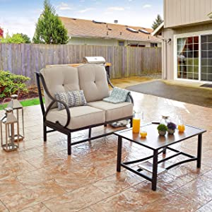 LOKATSE HOME 2 Pcs Outdoor Bistro Furniture Metal Conservation Set, Patio Loverseat with Coffee Table, Loveseat Seat, Beige