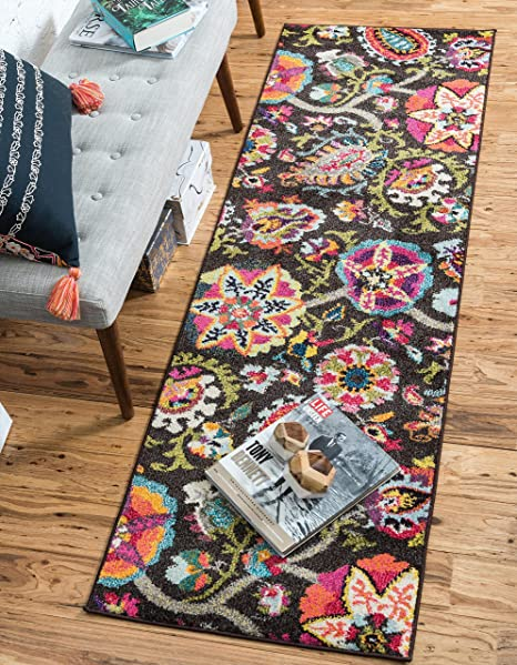 Unique Loom Estrella Collection Colorful Abstract Brown Runner Rug (2 2 x 6 7)