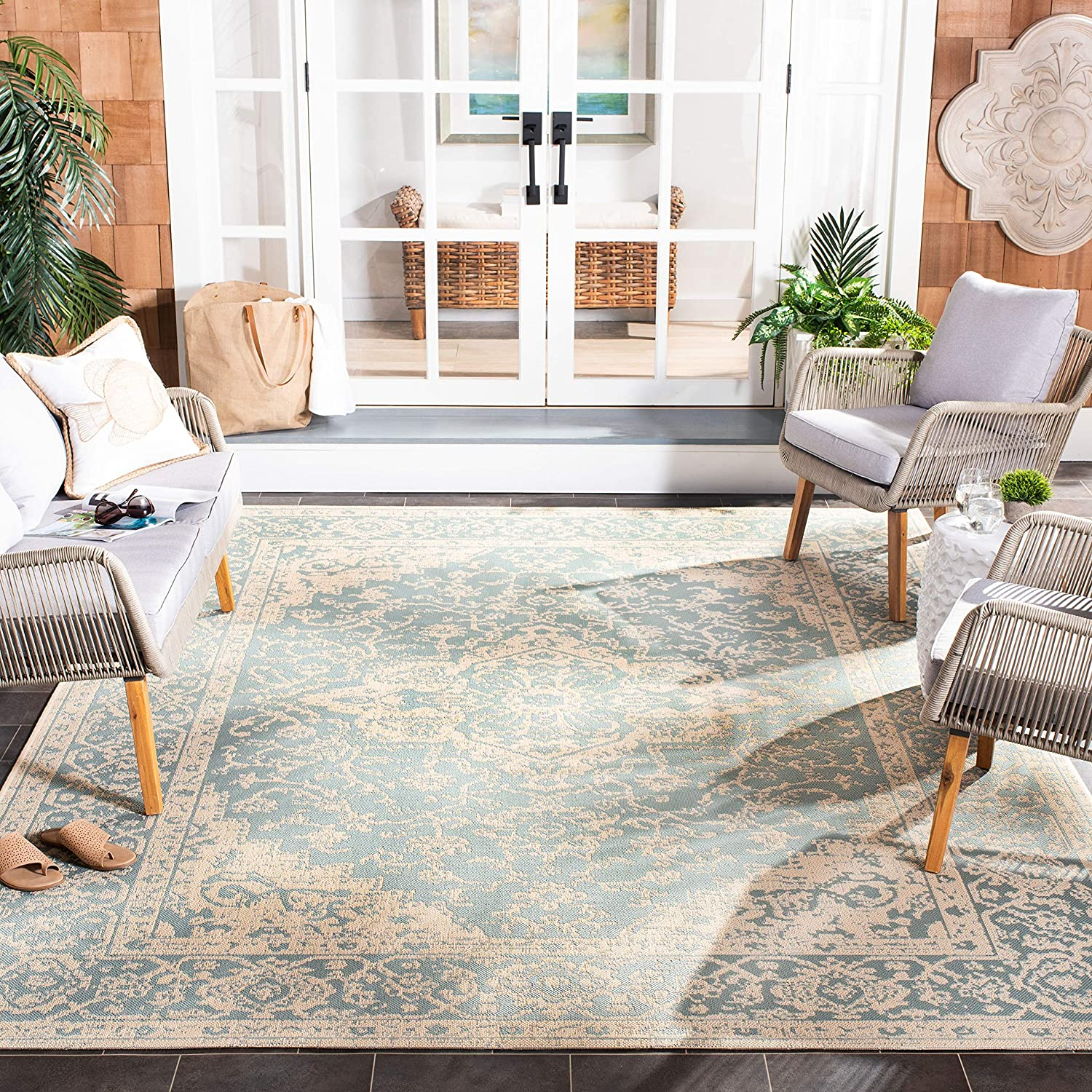 Safavieh Beach House Collection Bhs137k Indoor Outdoor Non Shedding Stain Resistant Patio Backyard Area Rug 8 X 10 Aqua Cream Furniture Decor