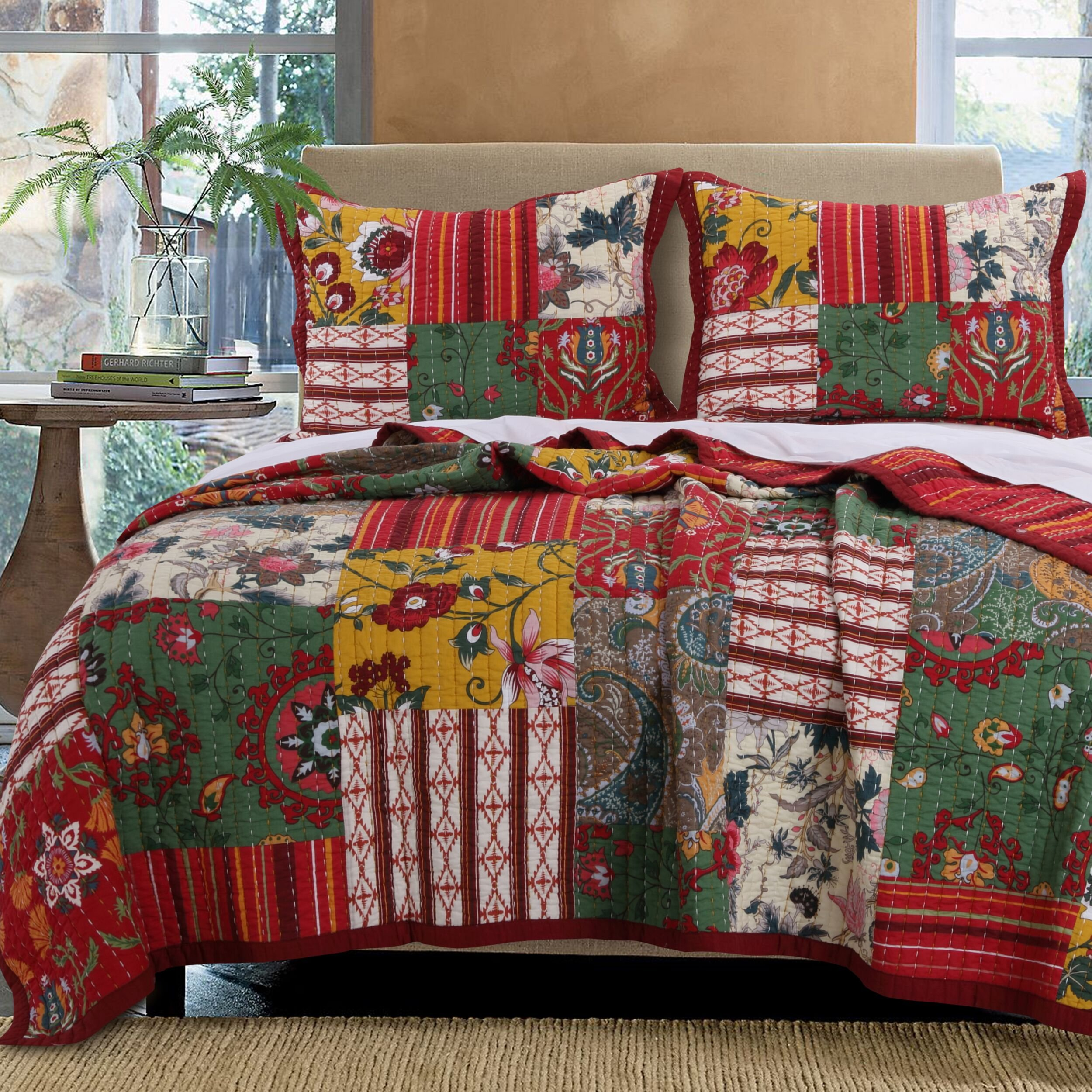 French Country Cottage Bedding Patchwork Stripe Floral Pattern Red Green Gold Luxury 100 Cotton Print Reversible Quilt 3 Piece Set with Shams King Size - Includes Bed Sheet Straps