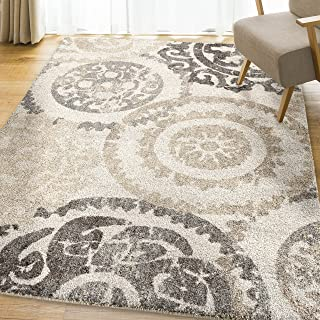 "product image for Orian Rugs Super Shag Collection 392494 Stencil Area Rug, 5'3"" x 7'6"", Ivory"