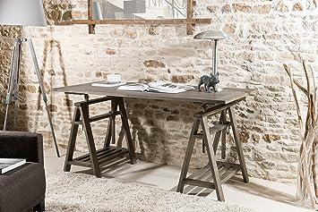 Macabane bureau tréteaux bois gris tabac cm amazon