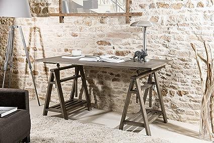 Macabane bureau tréteaux bois gris tabac 73 x 85 x 50 cm: amazon
