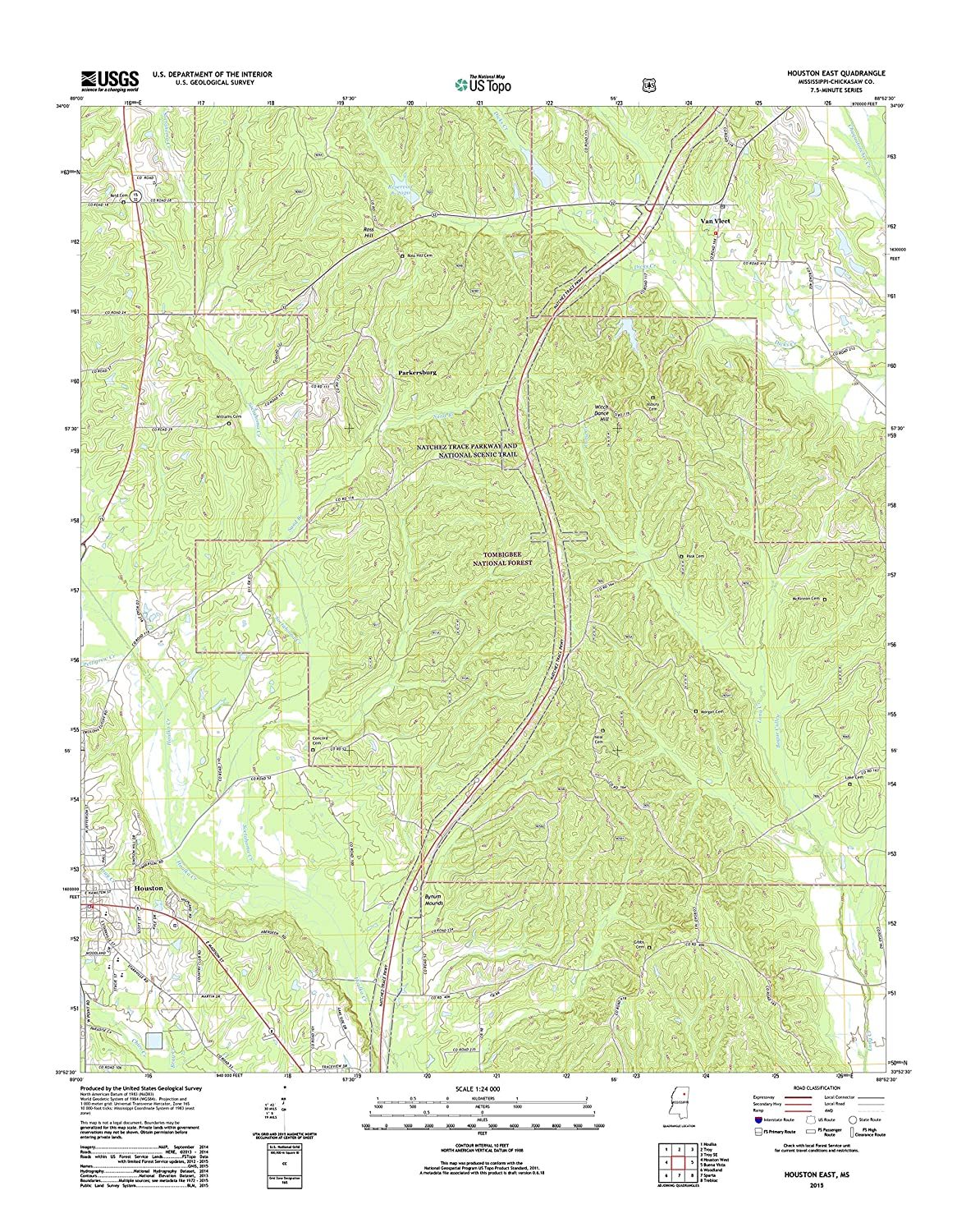 Amazon Com Topographic Map Poster Houston East Ms Tnm Geopdf 7 5