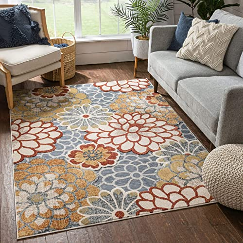 Well Woven Della Multi Grey Red Modern Floral Flat-Weave Hi-Low Pile Area Rug 5×7 5'3″ x 7'3″