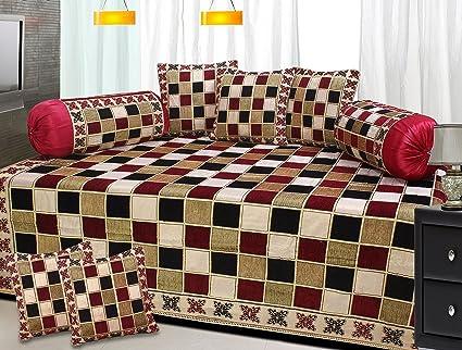 Fresh From Loom Premium 8 Piece 500 TC Chenille Diwan Set - Maroon