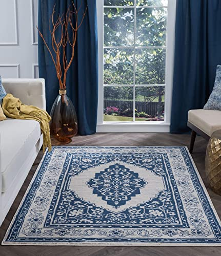 Kerr Traditional Oriental Navy Rectangle Area Rug