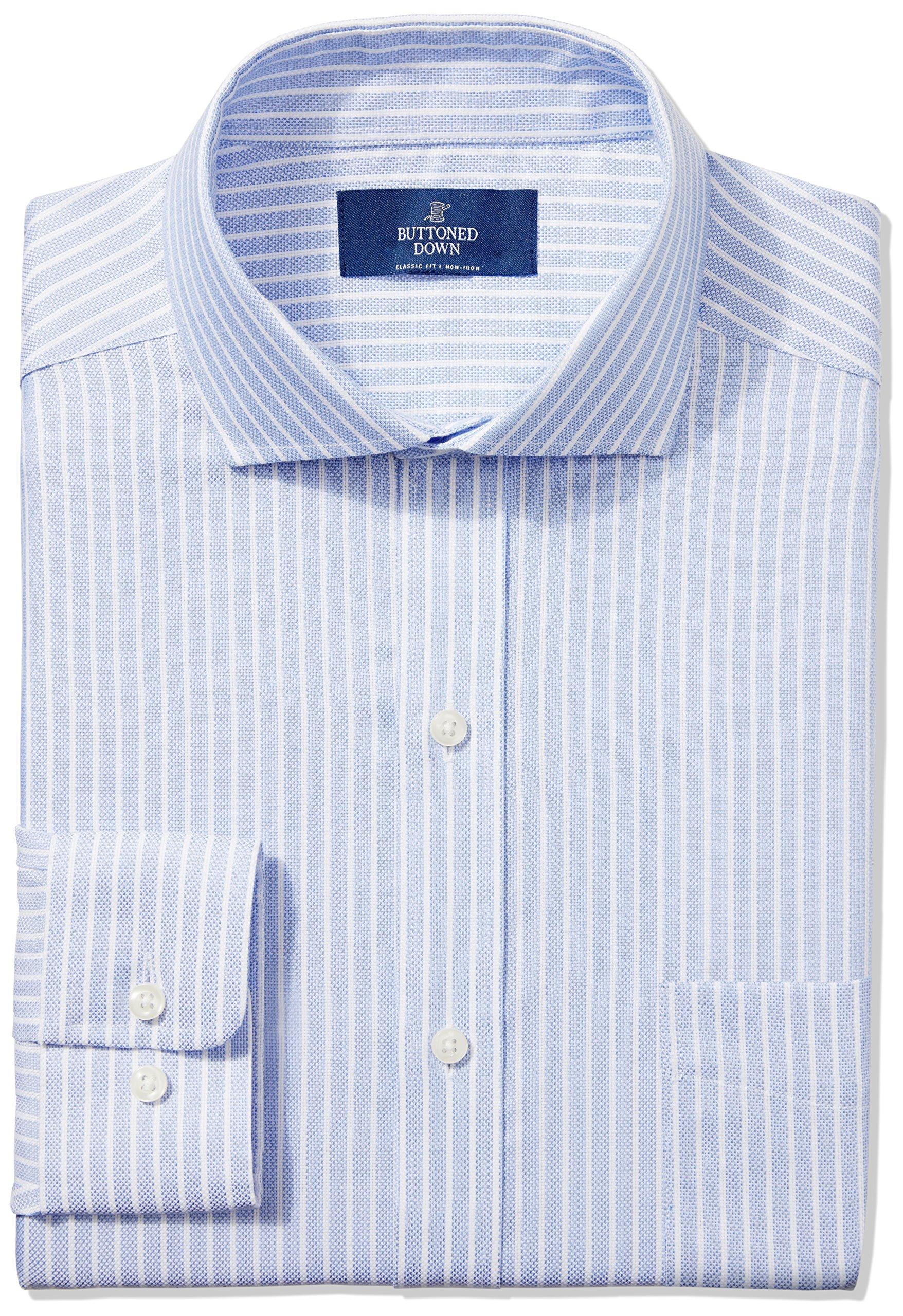 Buttoned Down Men's Classic Fit Cutaway-Collar Non-Iron Dress Shirt, Blue Textured Stripe, 16'' Neck 32'' Sleeve
