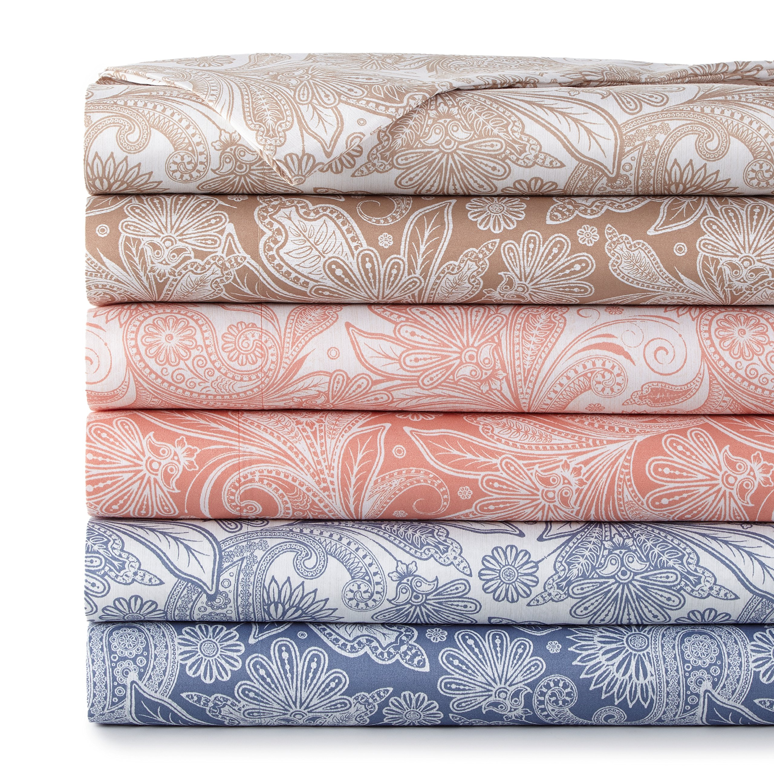 Southshore Fine Linens - Perfect Paisley Boho Collection 4 Piece Sheet Sets, Full, White with Blue Paisley by Southshore Fine Living, Inc. (Image #4)