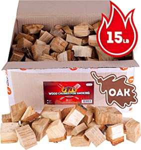 Oak smoker wood chunks - BBQ cooking wood for all smokers and grills - 15lb box of smoke hardwood chunks - Bonus e-book for smoking meat