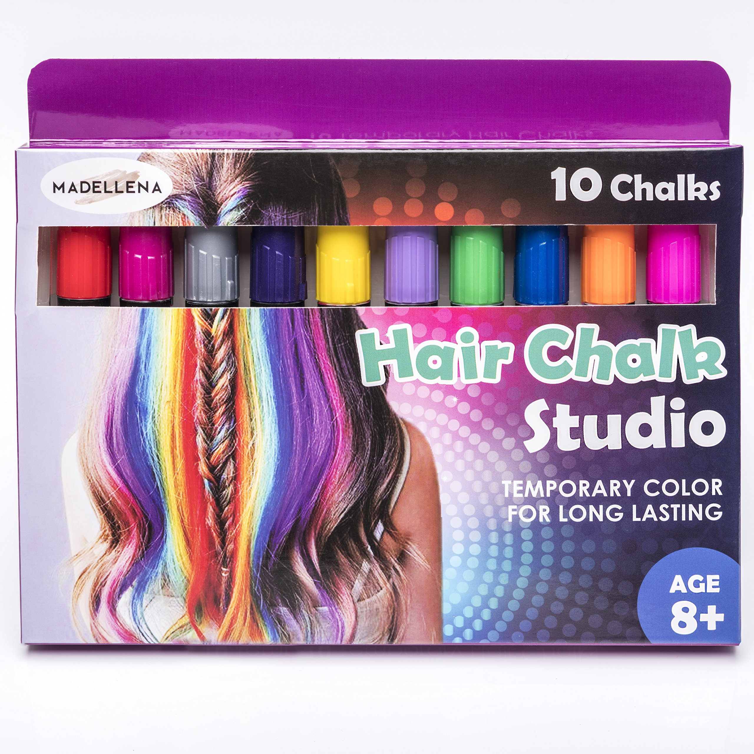 BIRTHDAY GIRLS GIFT HAIR CHALKS: Temporary Color for Girls for All Ages,Hair Chalk Pens, 10 COUNT - 80 Applications Per Stick, Makes a Great Birthday Gifts Present For Girls Age 4 5 6 7 8 9 10