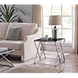 Chrome Finish / Black Glass Top Metal Frame Side End Table with Double X Designs