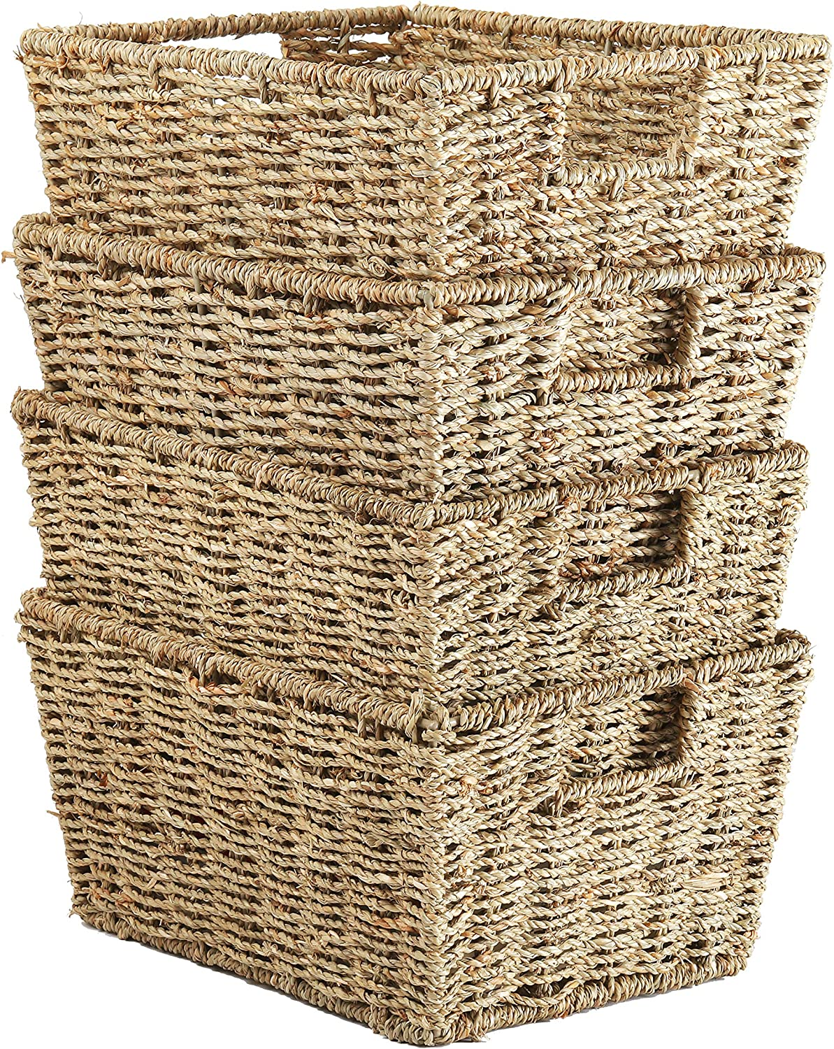 Welcare Set of 4 Seagrass Storage Baskets with Insert Handles Ideal for Home and Bathroom Organization - 12(L) x 9(W) x 6(H) inches