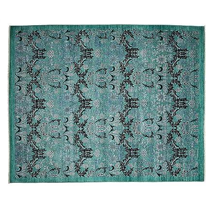 Amazon Com Area Rug Art Deco 8 X 10 Green Blue Wool Hand