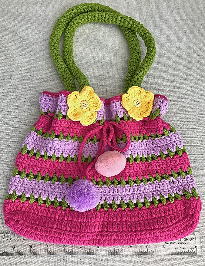 Amazon.com: Pom Pom Bolso, Little Girls cartera, Color Rosa ...