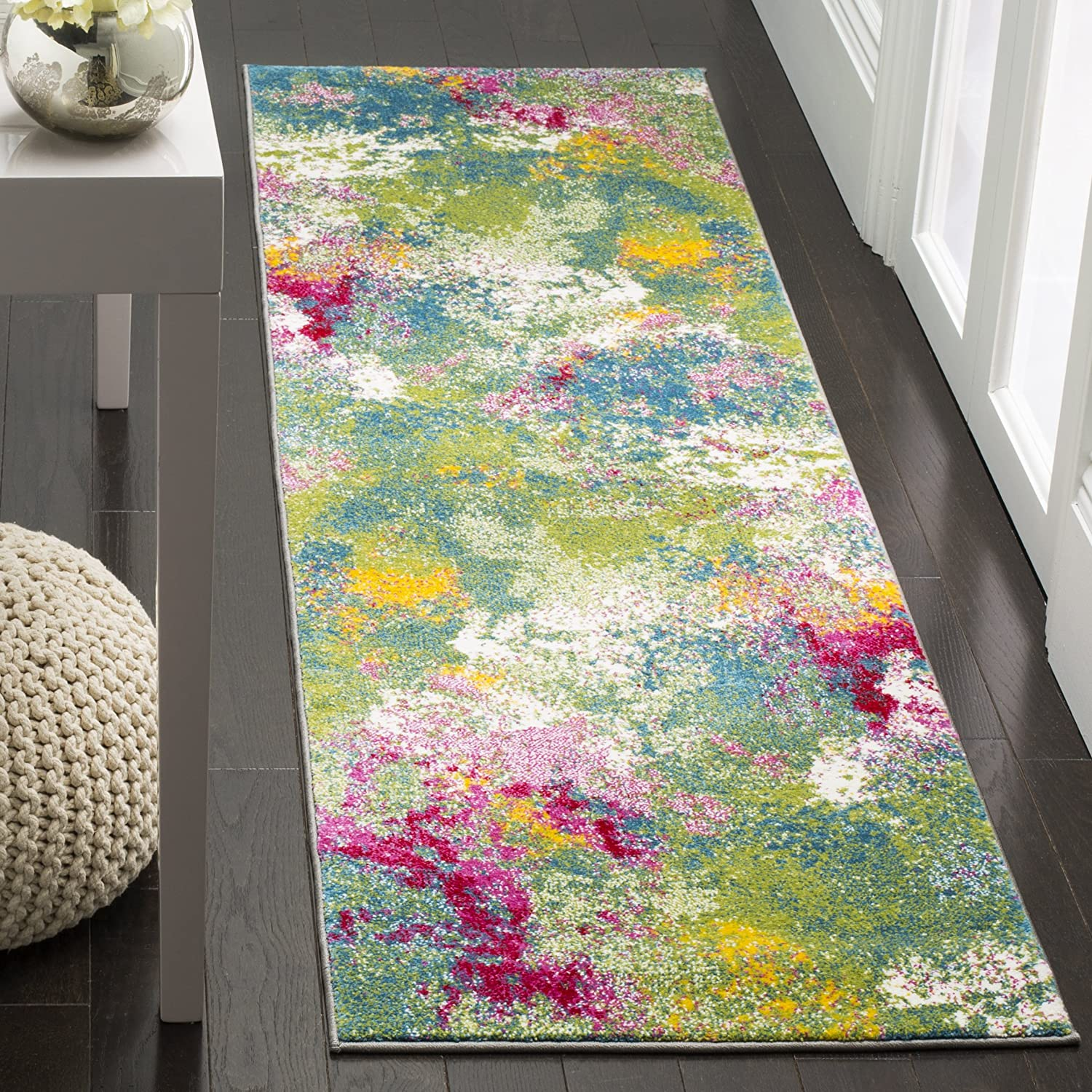 Amazon Com Safavieh Watercolor Collection Wtc697c Colorful Boho Abstract Non Shedding Stain Resistant Living Room Bedroom Runner 2 3 X 8 Green Fuchsia Furniture Decor