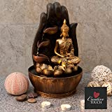 Golden Buddha with Lotus & Water Cups Indoor Water Fountain with LED Light | Size 25*25*40 Cm | 3 Pin UK Plug Included |