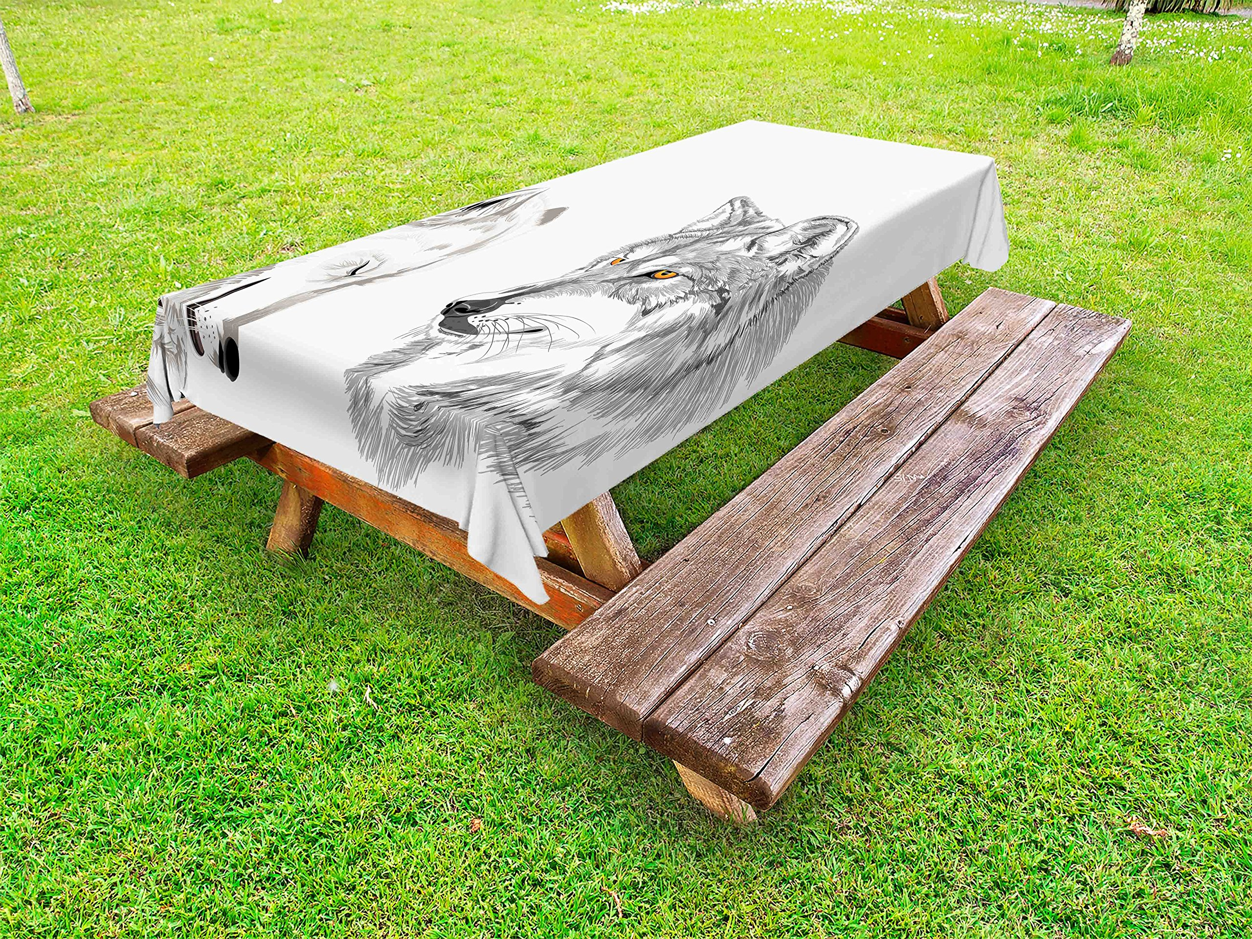 Ambesonne Sketchy Outdoor Tablecloth, Two Wolf Portraits Sleeping Hunting Carnivore Animals Nature Wildlife Theme, Decorative Washable Picnic Table Cloth, 58 X 120 inches, Beige Grey Orange