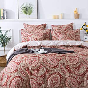 FADFAY Paisley Duvet Cover Set 100% Cotton Hypoallergenic Red and Beige Reversible Paisley Bedding Set with Hidden Zipper Closure 3 Pieces, 1Duvet Cover & 2Pillowcases, King/California King Size