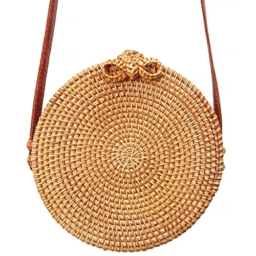 Bali Rattan Bag   Round Handwoven Crossbody Purse For Women by Taste Of Tropical