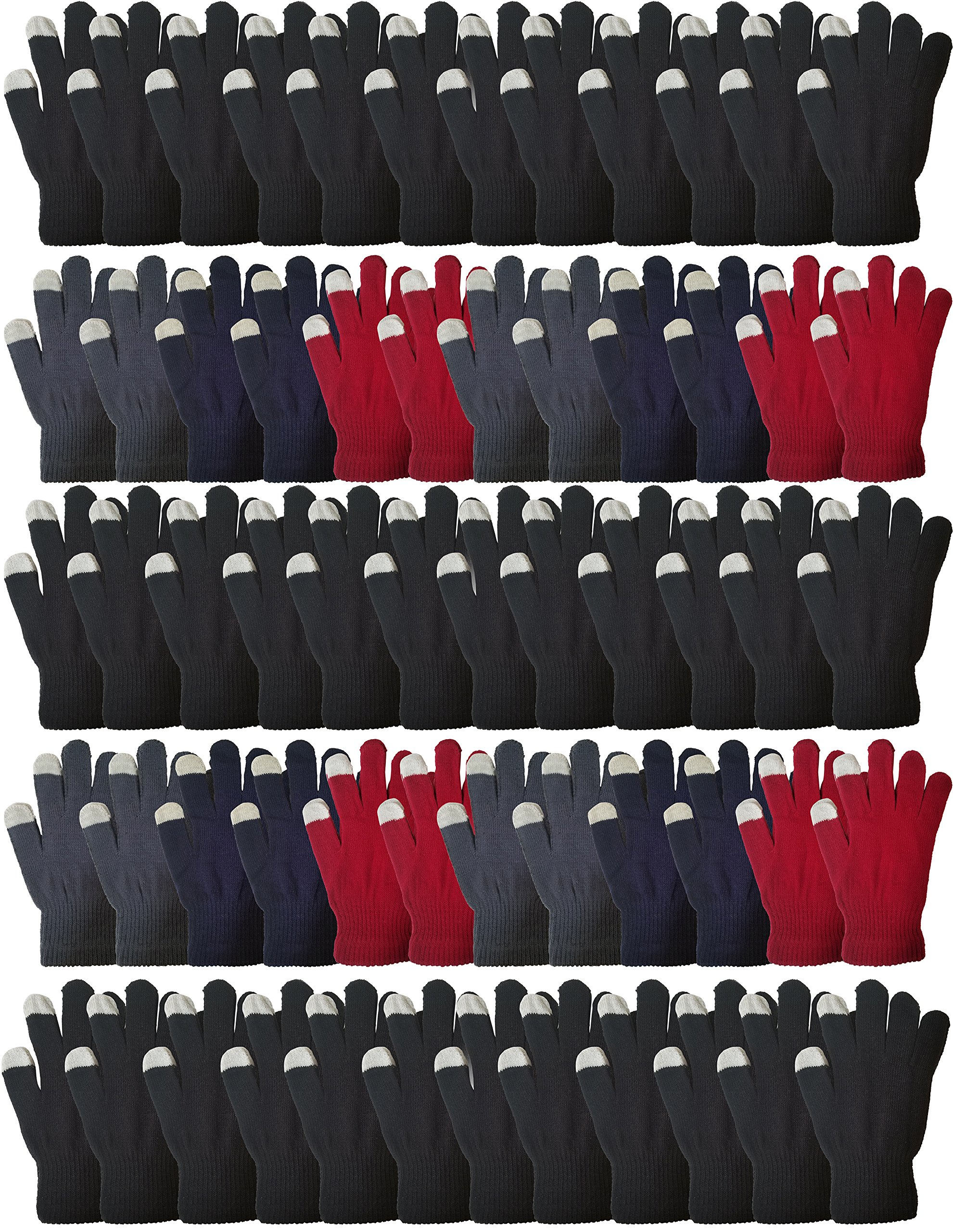 72 Pairs Wholesale Touch Screen Winter Gloves, Soft Stretchy and Warm Bulk Pack Magic Glove, Mens and Womens (Assorted, 72)