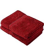 Pinzon by Amazon - Juego de toallas de algodón egipcio (2 toallas de baño), color rojo