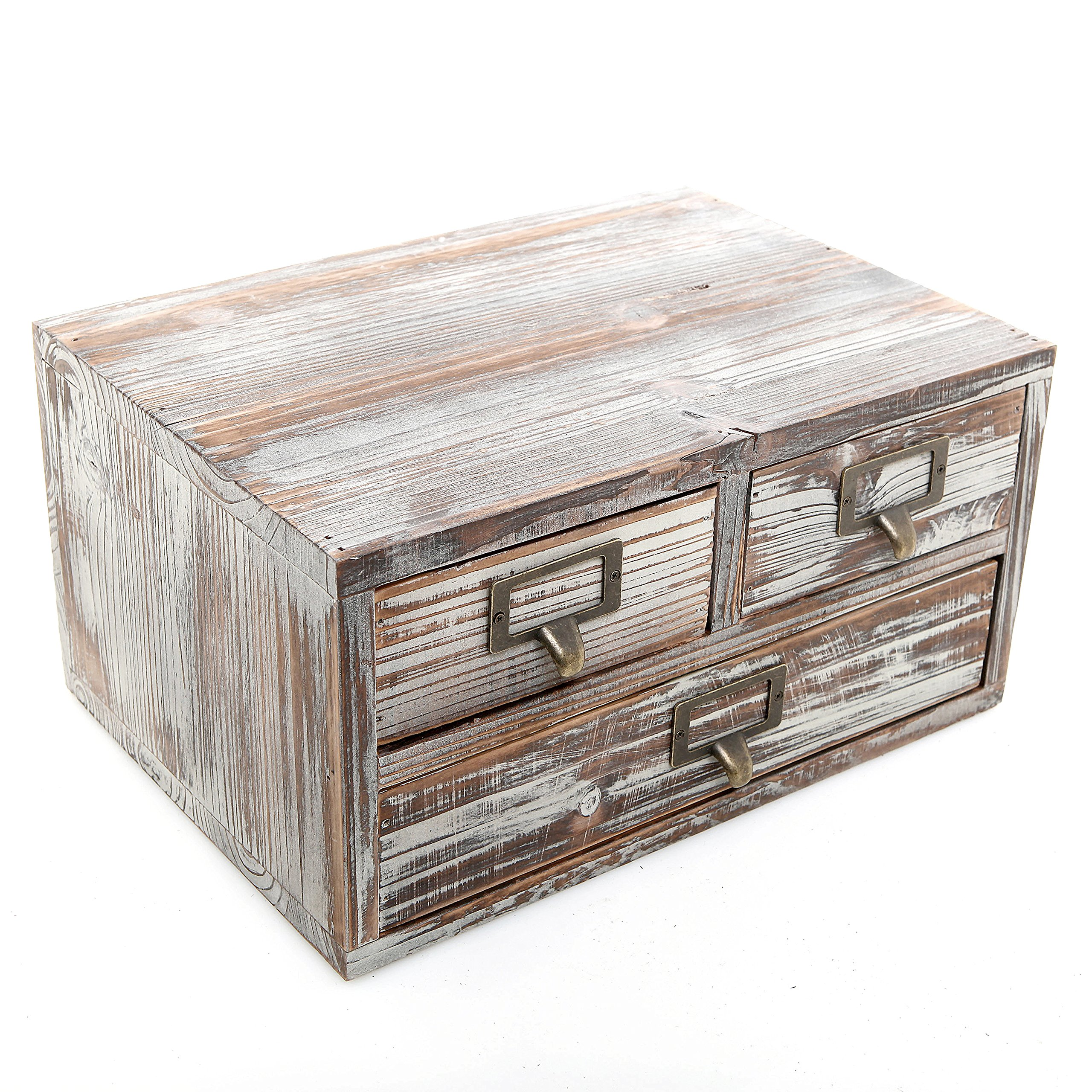 Rustic Torched Finish Wood Office Storage Cabinet / Jewelry Organizer w/ 3 Drawers, Ash Brown - MyGift