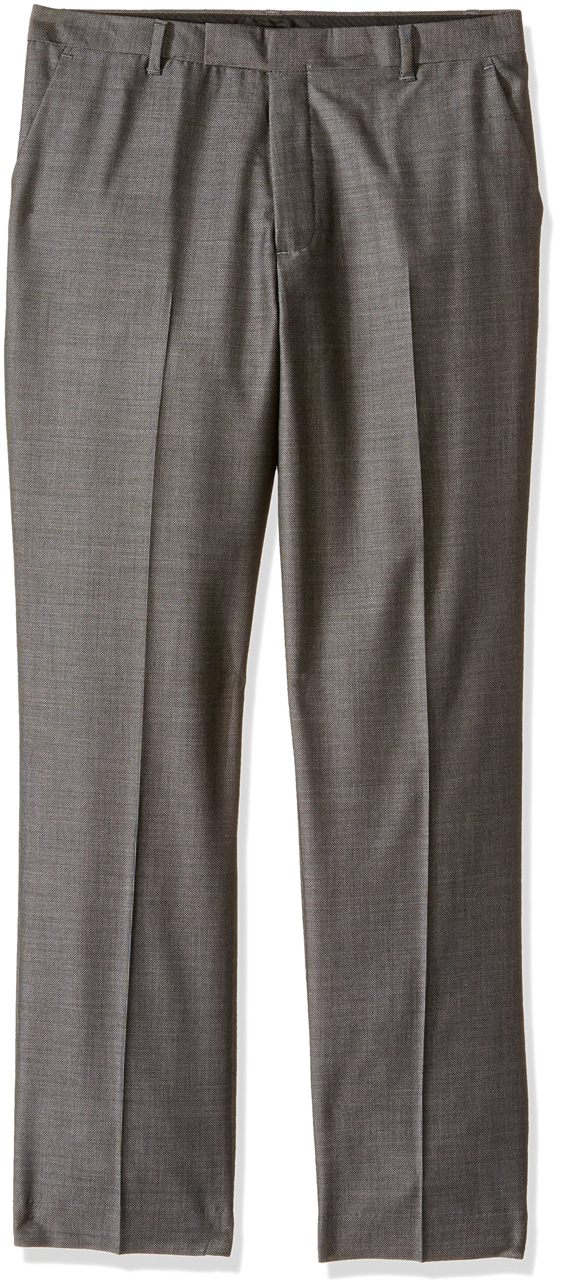 Calvin Klein Boys' Flat Front Dress Pant, Birdseye Black, 12
