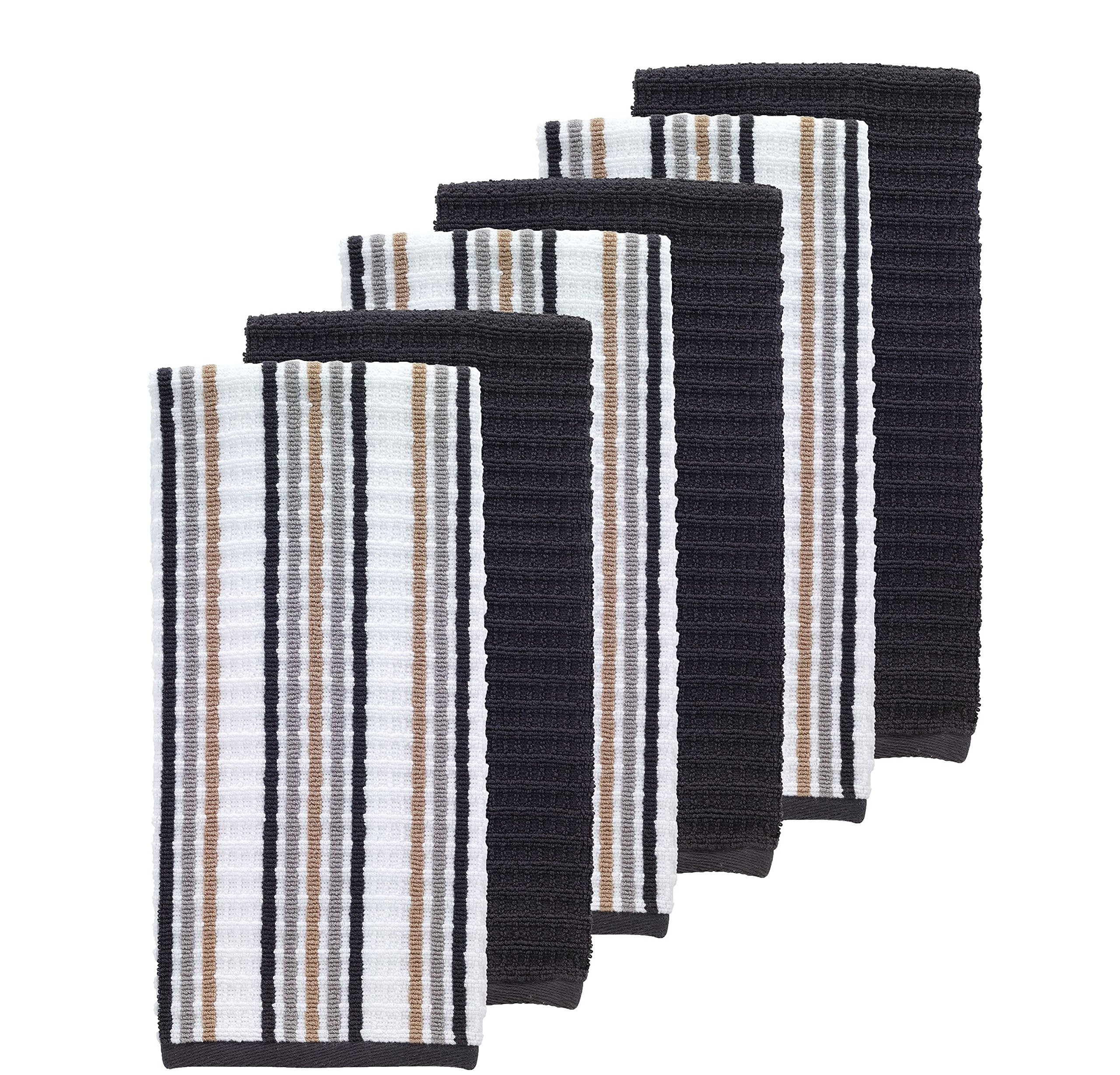 Set Of 6 Oversized Charcoal Black Striped Theme Kitchen Dish Towel Set, Sleek Trendy Classic Solid Color Linen Pattern Cloths Highly Absorbent Soft Plush Vibrant Vertical Stripes Classic, Cotton Terry by N2