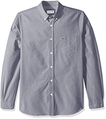 924622ba84f1d6 Lacoste Men s Long Sleeve Oxford Button Down Collar Regular Fit Woven  Shirt