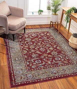 Amazon Com Well Woven Allure Vanessa Red Vintage Oriental Persian Mosaic 7 10 X 9 10 Area Rug Furniture Decor