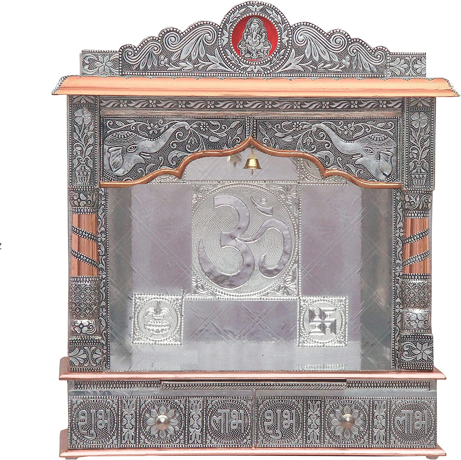 Home Pooja Wooden Mandir with Copper Oxidized Plated Puja Temple - Fully Assembled - 22 Inches Open