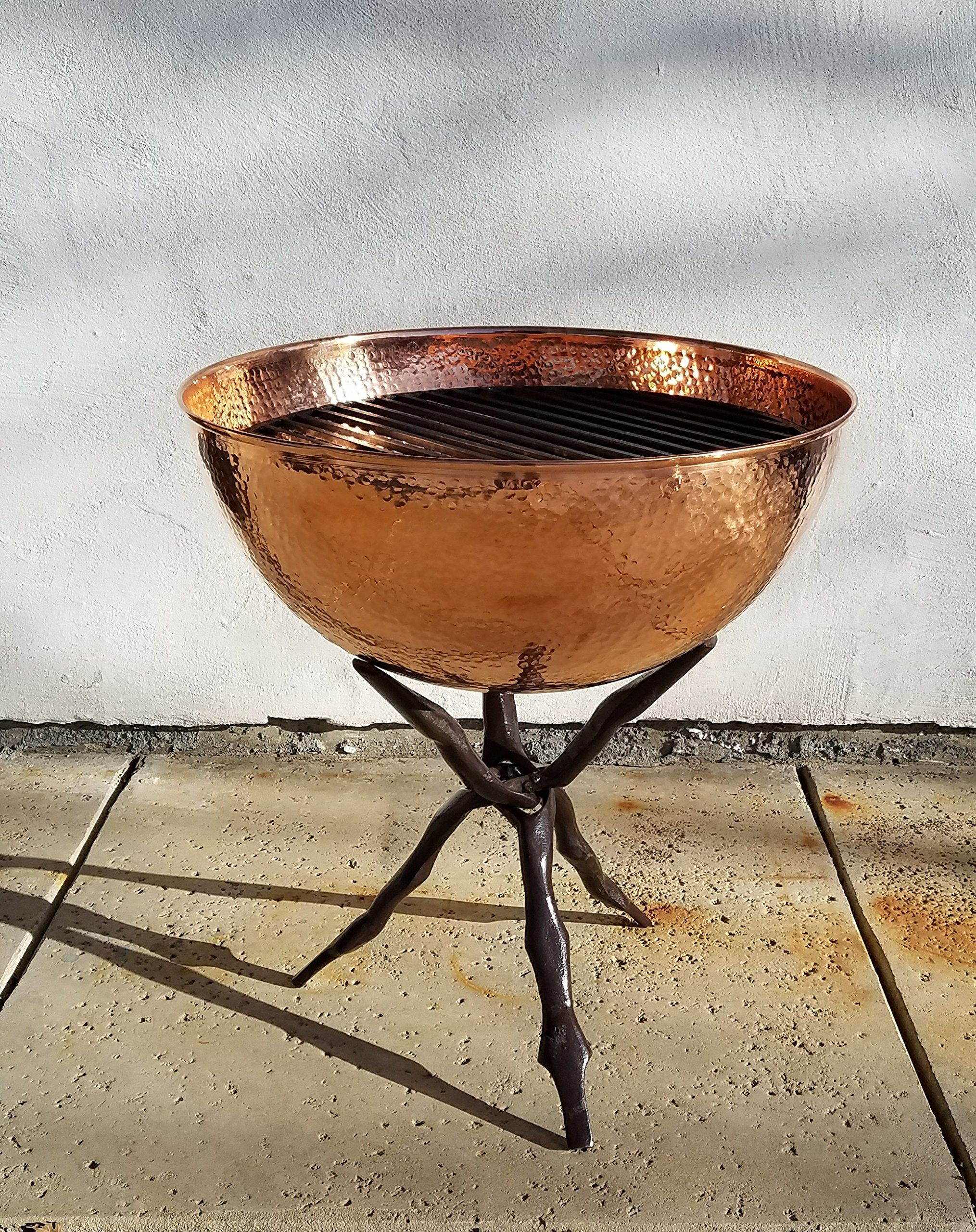 Passage FP-23-HC-CS Fire Pit & Collapsible Stand, Hammered Copper - Collapsible stand Solid copper Lid and grate - patio, outdoor-decor, fire-pits-outdoor-fireplaces - A11sSQxEIRL -