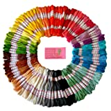 Premium Rainbow Colour Embroidery Floss - Cross Stitch Threads - Friendship Bracelets Floss - Crafts Floss - 105 Skeins Per Pack and Free Set of High Quality Embroidery Needles