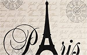 Chesapeake Paris Printed Cotton Eiffel Typography Accent Rug (3'x5')