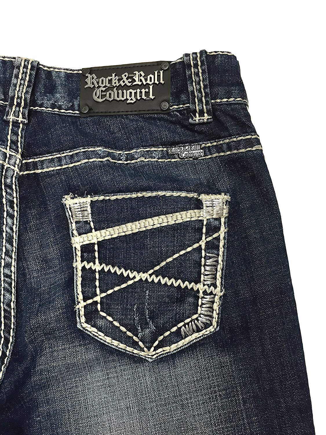 Rock and Roll Cowgirl W1-2237 Embroidered Flat Pocket Jeans