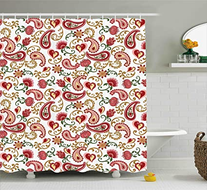 Amazon.com: Ambesonne Paisley Shower Curtain, Ethnic Style Rose and ...