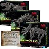 Dig a Dinosaur Excavation DNA Kit AR Wonders T-Rex Stegosaurus and Triceratops Dinosaurs - 3 Pack w Universal Truths Dino Bone!