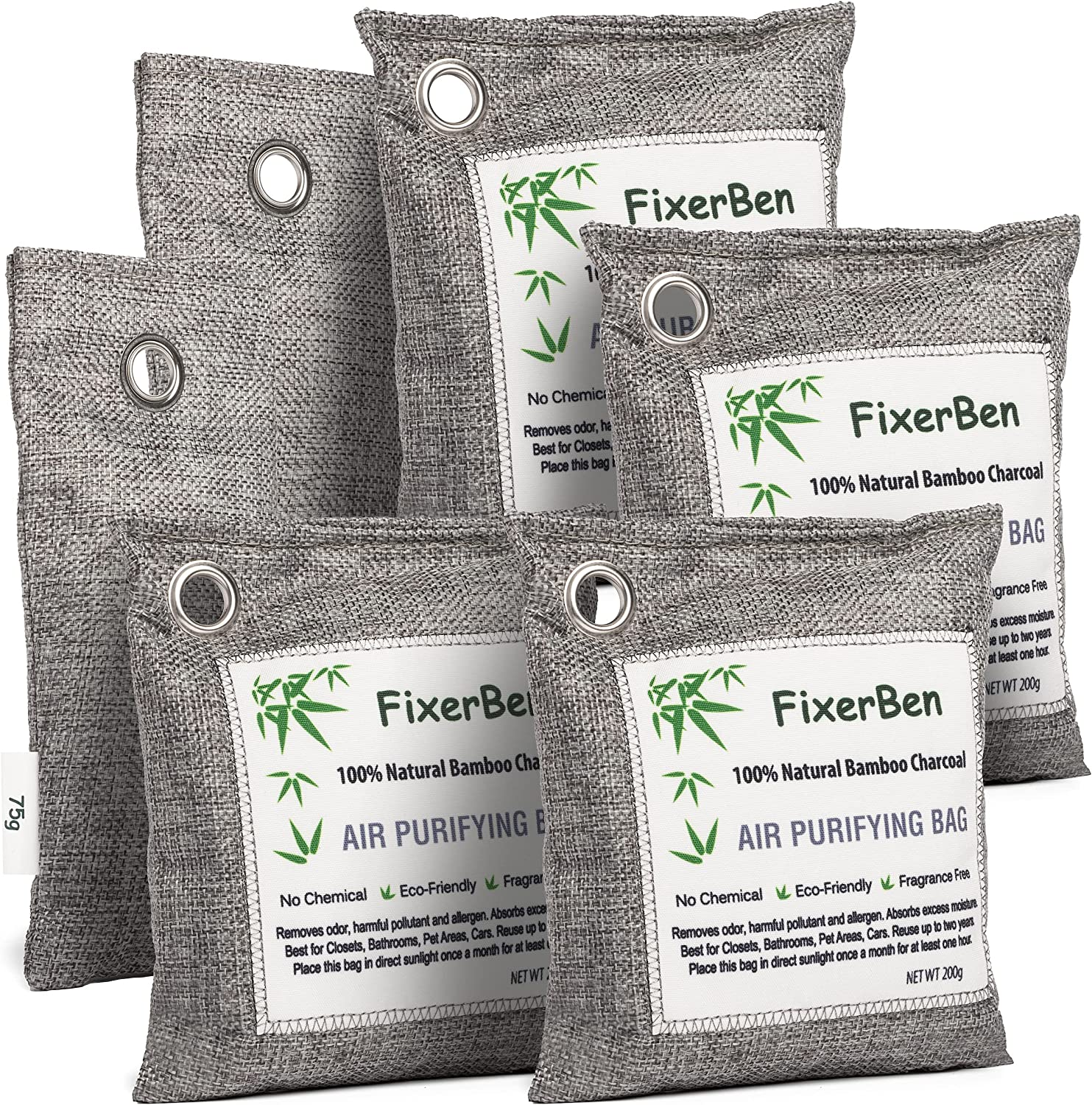 Bamboo Charcoal Air Purifying Bags 6 Pack (4 Pack200g;2 Pack75g) Activated Nature Fresh Charcoal Bag-Odor Absorber- Moisture Eliminator for Home Closet Room and Cars-Shoe Pet Deodorizer-Air freshener