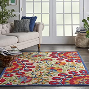 "Nourison Aloha ALH20 Red Multicolor Easy-Care Indoor-Outdoor Rug 5'3"" x 7'5"", 5'3""X7'5"", Multi"