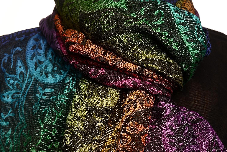 LissKiss Mirrored Ombre Paisleys On Black Pashmina Feel With Tassels Schal Einheitsgroesse 70cm x 180cm Schwarz Scarf