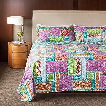Amazon.com: SLPR Cottage Floral 3-Piece 100% Cotton Lightweight ... : colorful quilt sets - Adamdwight.com