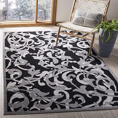 Safavieh Amherst Collection AMT428G Floral Scroll Area Rug, 5 x 8 , Anthracite Light Grey