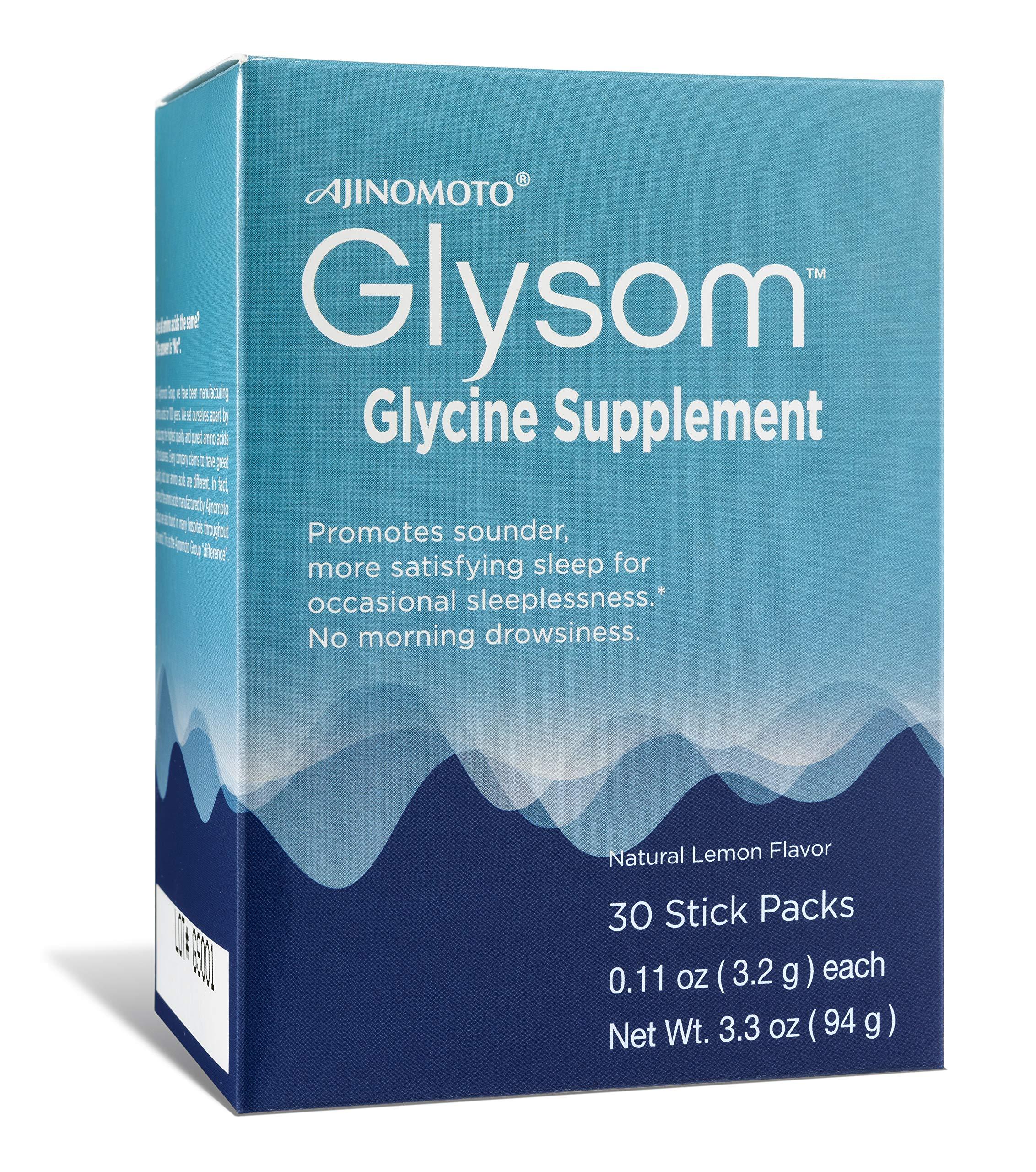 Glysom - Gylcine Sleep Supplement, Amino Acid Powder, Natural Lemon Flavor, 30 x 3.2g Sticks, 3.3oz Box
