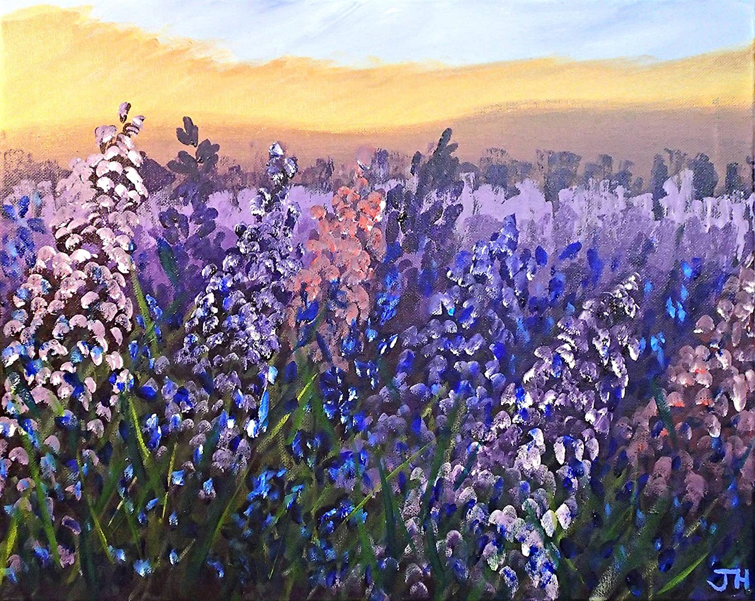 Image result for field of flowers acrylic painting