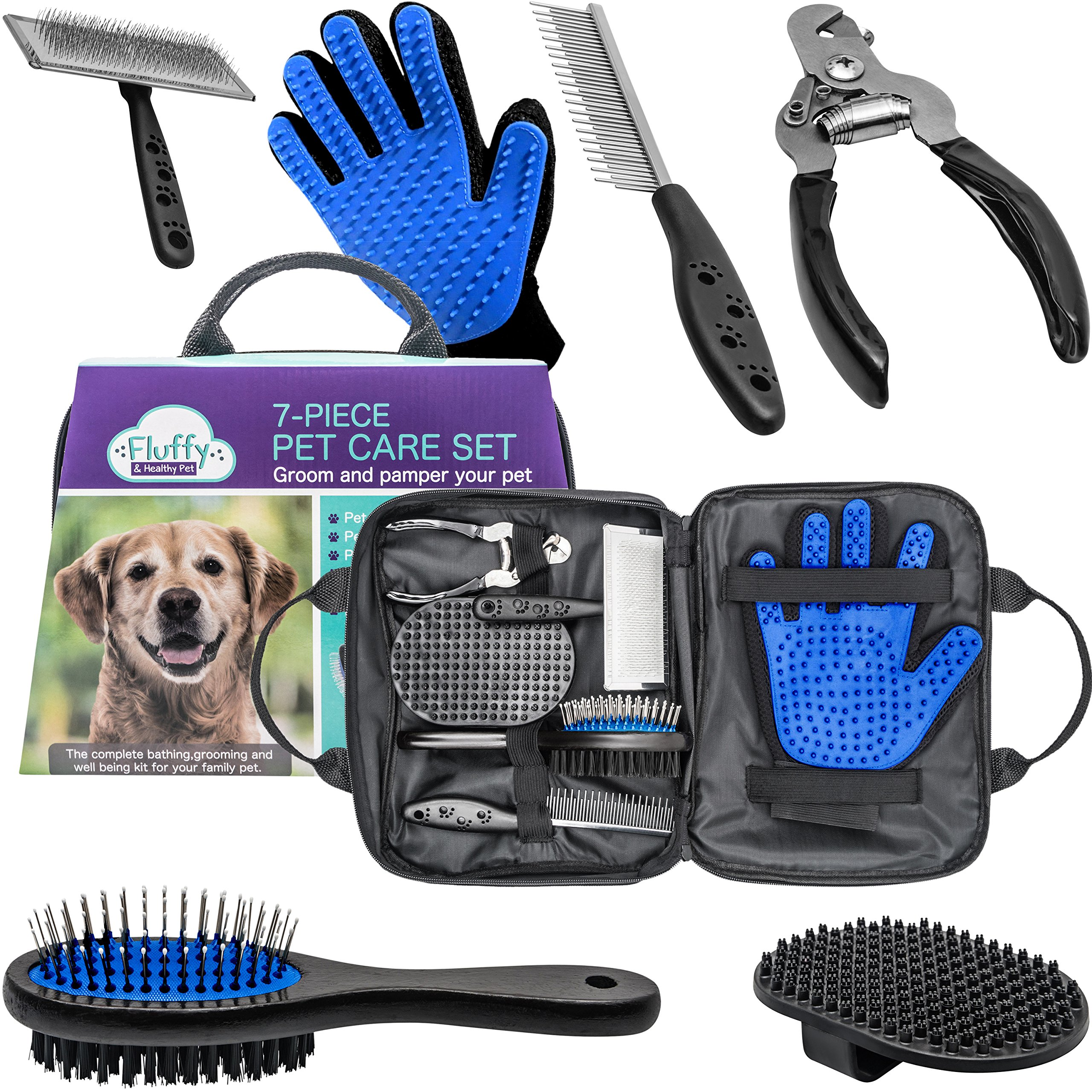 Pet Grooming Tools Kit With Dog Nail Clippers, Pet Hair Remover Glove, Double-sided Pet Hair Brush, Slicker Brush, Pet Massage Brush, Pet Comb and Carrying Case - All in One 7-Piece Pet Care Set