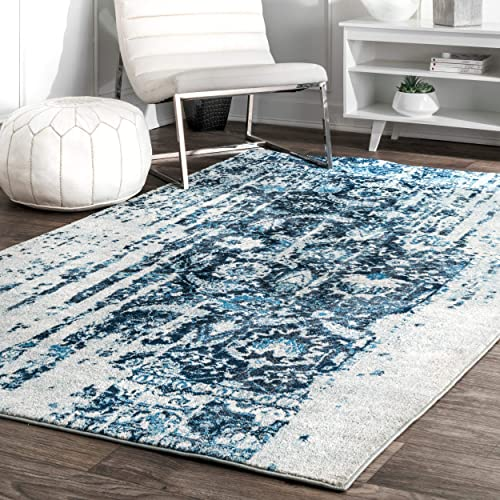 nuLOOM Ernestina Distressed Flourish Area Rug, 5 x 8 , Blue