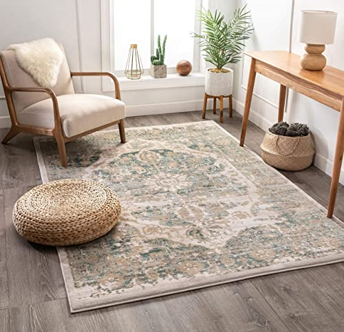 "Well Woven Millie Tribal Mint Blue Medallion Area Rug 8x11 7'10"" x 10'6"" Beige Modern Distressed Oriental Plush Super Soft Carpet"