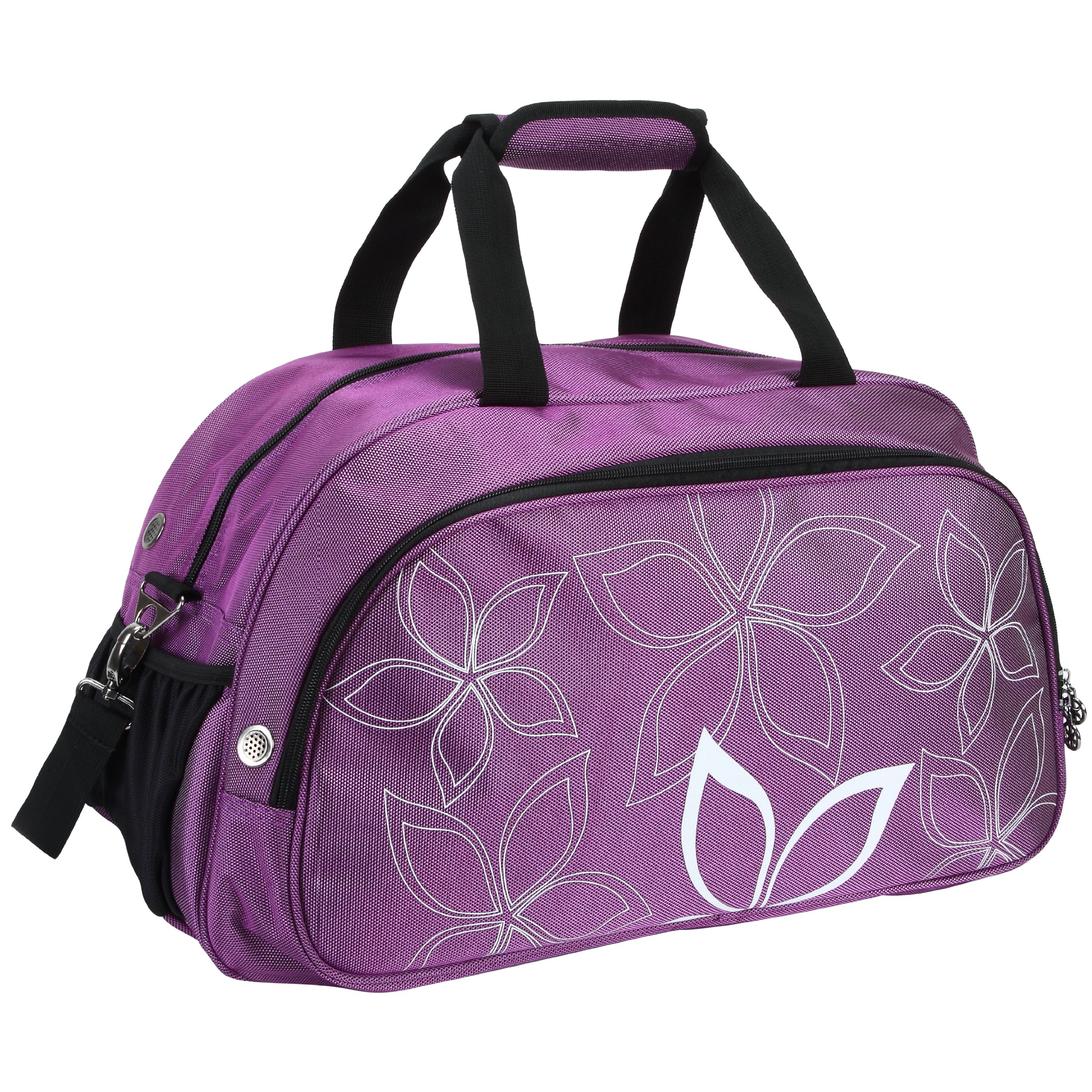 20'' Fashionable Flowers Pattern Purple Sports Gym Tote Bag Travel Carryon